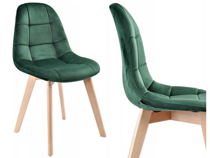Krzesło aksamitne K-Austin dsw welur ciemno zielony Pikowane Tapicerowane Styl Skandynawski Wysokość 83 cm Wysokość 50 cm Drewno Szerokość 45 cm Tkanina Głębokość 38 cm Pomieszczenie Salon