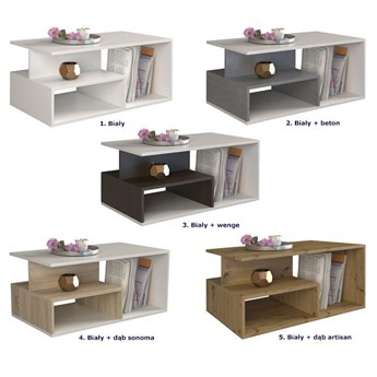 Loftowy stolik kawowy Keero - biały+beton