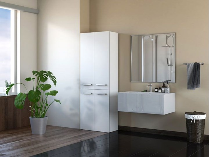 Szafka łazienkowa Malmo 4X - biała Szafki Wysokość 174 cm Stojące Szerokość 60 cm Kolor Biały