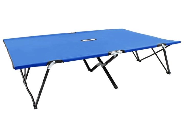 vidaXL Dwuosobowy leżak, składany, niebieski, stal