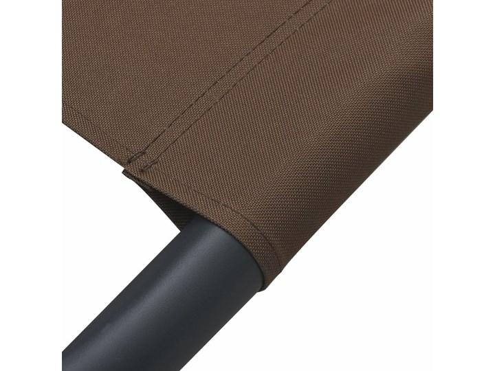 vidaXL Leżak ogrodowy z baldachimem, brązowy Z daszkiem Metal Kategoria Leżaki ogrodowe