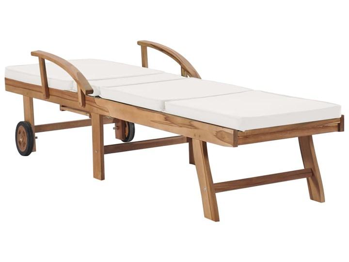 vidaXL Leżaki z poduszkami, 2 szt., lite drewno tekowe, kremowe Z regulowanym oparciem