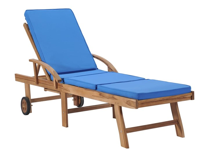 vidaXL Leżaki z poduszkami, 2 szt., lite drewno tekowe, niebieskie Z regulowanym oparciem