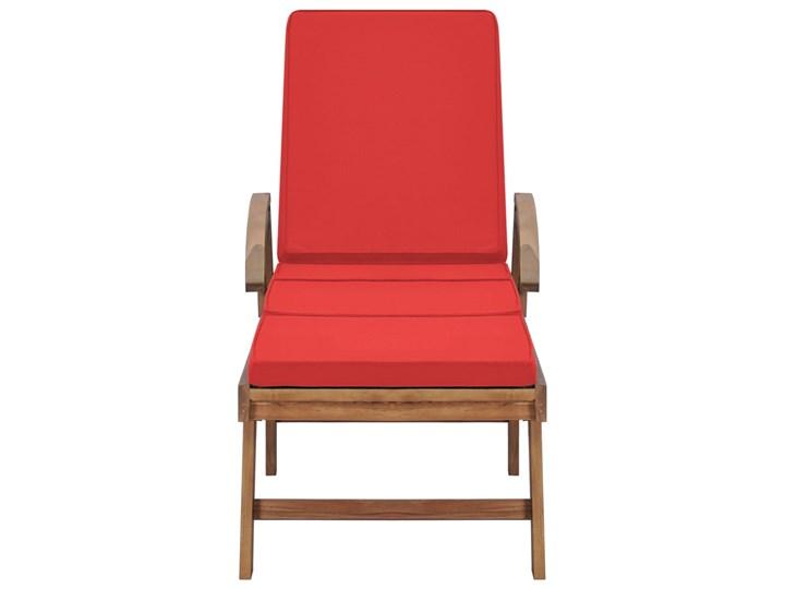 vidaXL Leżaki z poduszkami, 2 szt., lite drewno tekowe, czerwone Styl Rustykalny Z regulowanym oparciem Kolor Czerwony