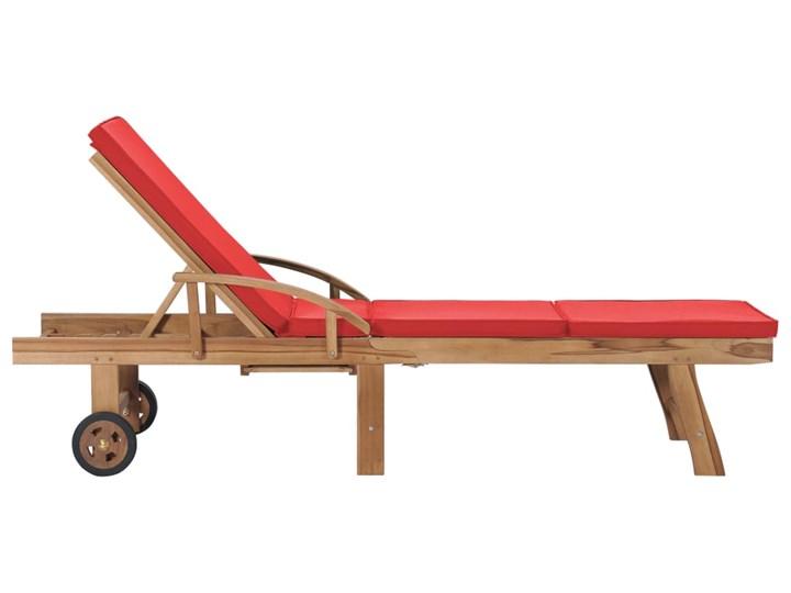 vidaXL Leżaki z poduszkami, 2 szt., lite drewno tekowe, czerwone Z regulowanym oparciem Styl Rustykalny Kolor Czerwony