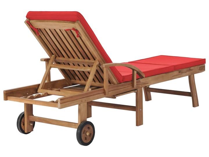 vidaXL Leżaki z poduszkami, 2 szt., lite drewno tekowe, czerwone Z regulowanym oparciem Kolor Czerwony