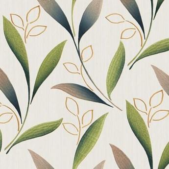 Tkanina pnące liście brąz-zieleń szer.150cm