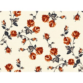 Tkanina w różyczki pomarańczowe szer.150cm