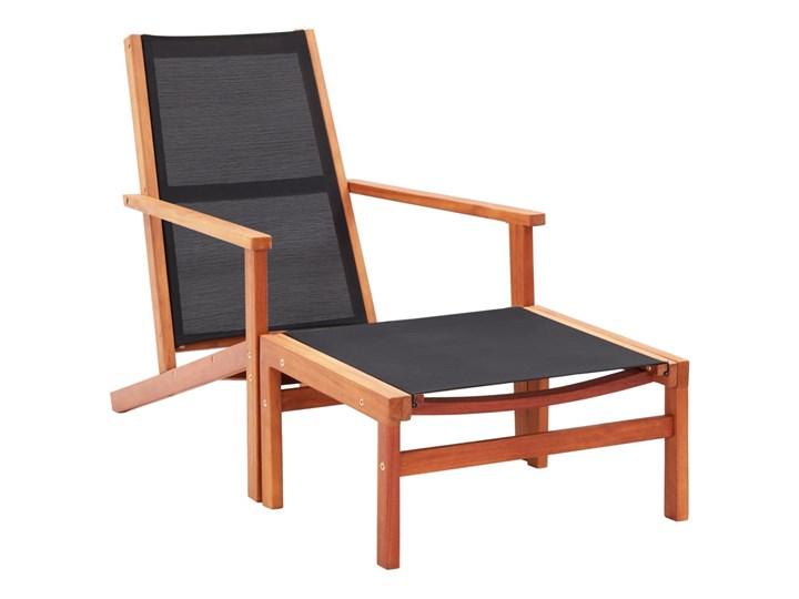 vidaXL Krzesło ogrodowe z podnóżkiem, czarne, eukaliptus i textilene Krzesło z podłokietnikami Tworzywo sztuczne Drewno Krzesło składane Metal Kolor Czarny