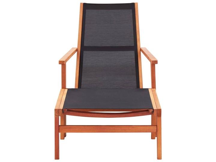 vidaXL Krzesło ogrodowe z podnóżkiem, czarne, eukaliptus i textilene Krzesło z podłokietnikami Tworzywo sztuczne Krzesło składane Metal Kolor Czarny Drewno Kategoria Krzesła ogrodowe