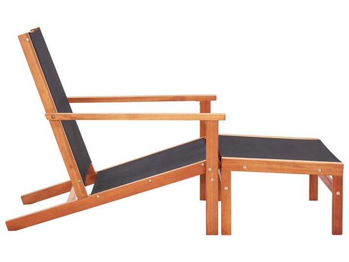 vidaXL Krzesło ogrodowe z podnóżkiem, czarne, eukaliptus i textilene Tworzywo sztuczne Krzesło z podłokietnikami Metal Kolor Czarny Krzesło składane Drewno Kategoria Krzesła ogrodowe