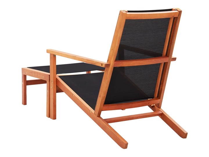 vidaXL Krzesło ogrodowe z podnóżkiem, czarne, eukaliptus i textilene Krzesło składane Drewno Metal Krzesło z podłokietnikami Tworzywo sztuczne Kolor Czarny