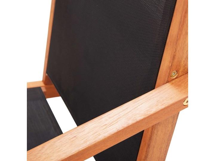 vidaXL Krzesło ogrodowe z podnóżkiem, czarne, eukaliptus i textilene Krzesło składane Metal Tworzywo sztuczne Krzesło z podłokietnikami Drewno Kategoria Krzesła ogrodowe
