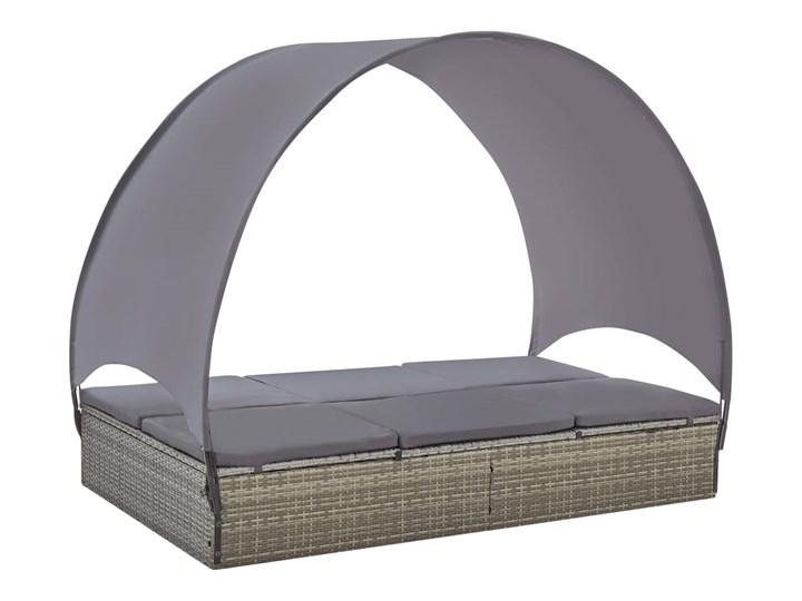 vidaXL Podwójny leżak z baldachimem, polirattan, szary Metal Z daszkiem Kategoria Leżaki ogrodowe