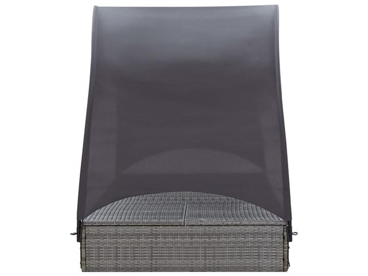 vidaXL Podwójny leżak z baldachimem, polirattan, szary Metal Kategoria Leżaki ogrodowe Z daszkiem Kolor Beżowy