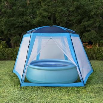 vidaXL Namiot do basenów, tkanina, 660x580x250, niebieski