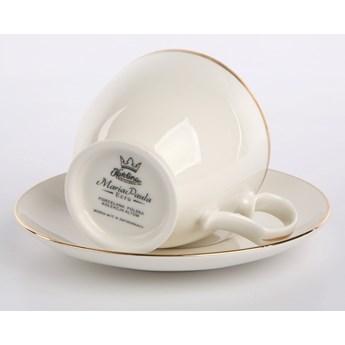 Filiżanka do kawy ze spodkiem porcelana MariaPaula Ecru Złota Linia, zestaw 2 filiżanek (opakowanie prezentowe)