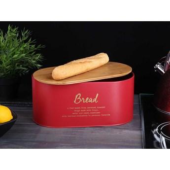 Chlebak / pojemnik na chleb i pieczywo metalowy z pokrywką bambusową Altom Design, dek. Bread czerwony