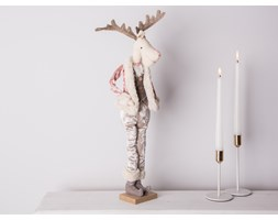 Dekoracja świąteczna / ozdoba pluszowa na Boże Narodzenie Altom Design łoś / renifer w różowym kożuszku chłopiec 50 cm stojący