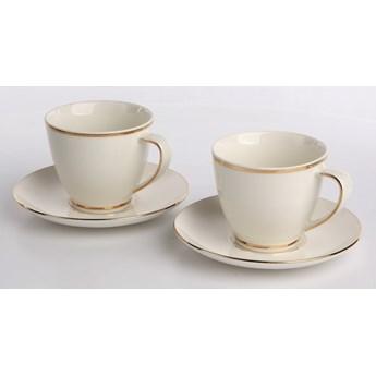 Filiżanki do kawy i herbaty ze spodkami porcelanowe MariaPaula Nova Ecru Złota Linia 250 ml / 15 cm (2 filiżanki / opakowanie prezentowe)