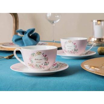 Filiżanka do kawy i herbaty ze spodkiem porcelanowa Altom Design Dream 250 ml (komplet 2 szt. / opakowanie prezentowe)