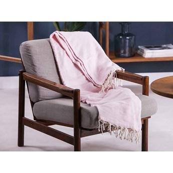 Koc / pled bawełniany z frędzlami Altom Design różowy 130 x 170 cm