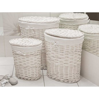 Kosz na pranie / bieliznę / brudownik wiklinowy owalny z pokrywą Altom Design biały, zestaw 3 koszy