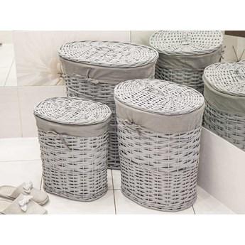 Kosz na pranie / bieliznę / brudownik wiklinowy owalny z pokrywą Altom Design szary, zestaw 3 koszy