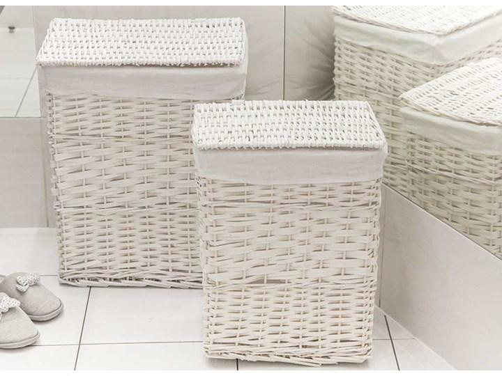 Kosz na pranie / bieliznę / brudownik wiklinowy z pokrywą Altom Design biały, zestaw 2 koszy