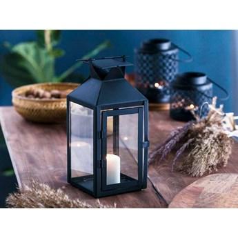 Latarenka / latarnia / lampion ozdobny wiszący metalowy Altom Design kwadratowa czarna 28 cm