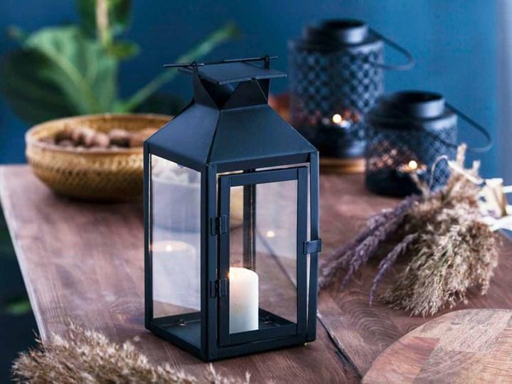 Latarenka / latarnia / lampion ozdobny wiszący metalowy Altom Design kwadratowa czarna 28 cm Kolor Czarny Kategoria Świeczniki i świece