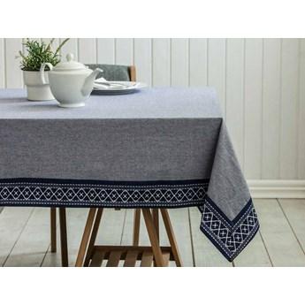 Obrus na stół Altom Design bawełniany szary / granatowy 160 x 240 cm