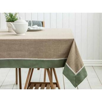 Obrus na stół z koronką Altom Design bawełniany oliwkowy / zielony 160 x 240 cm