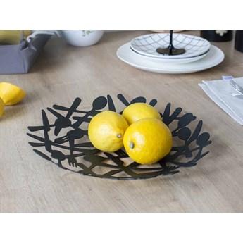 Patera na owoce / pieczywo metalowa Altom Design Sztućce Czarna 29 cm
