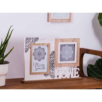 Ramka do zdjęć podwójna drewniana Altom Design Mandala 23 x 32 cm (na zdjęcia 10 x 15 i 10 x 10 cm )