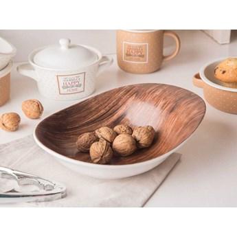 Salaterka / miska porcelanowa nieregularna Altom Design Happy Home dek. drewno