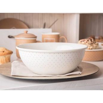 Salaterka / miska porcelanowa okrągła Altom Design Happy Home 21,5 cm, kremowa w kropki