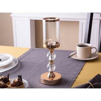 Świecznik / lampion dekoracyjny na nóżce z kryształkiem szklany Altom Design Złoty 10,5 cm x 30 cm