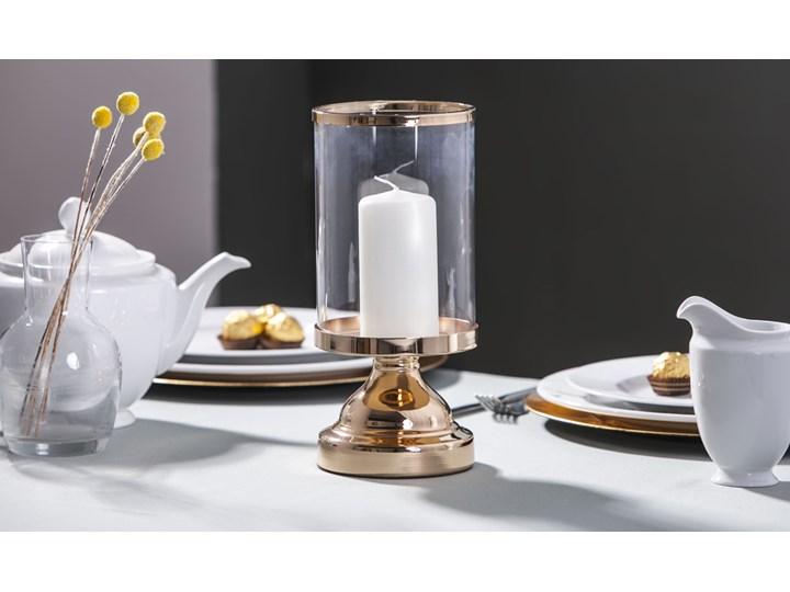 Świecznik / lampion szklany na nóżce Altom Design Złoty 12 x 28 cm