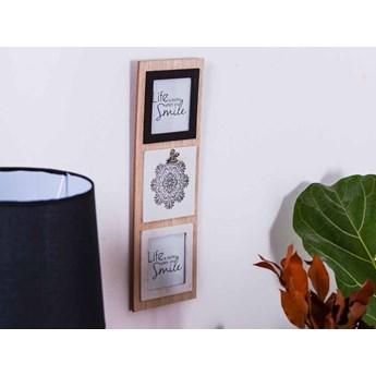 Tablica na zdjęcia wisząca drewniana Altom Design Mandala 15 x 42 cm (2 zdjęcia 10 x 10 cm)
