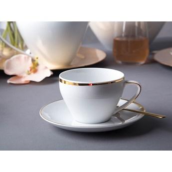 Zestaw kawowy dla 6 osób porcelana MariaPaula Moderna Gold ze złotym zdobieniem (12 elementów)