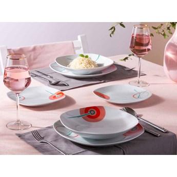 Zestaw talerzy kwadratowych z porcelany dla 6 osób Altom Design dek. Karen (18 elementów)