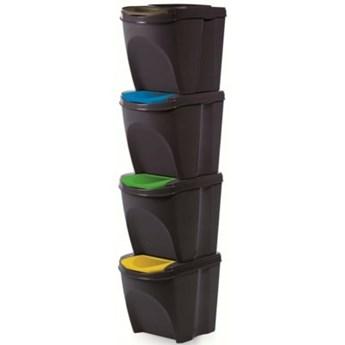 Kosz na śmieci PROSPERPLAST Sortibox IKWB25S4-S433 (4x25l) Czarny