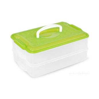 2-PIĘTROWY XXL CIASTKONOSZ, pojemnik na żywność zielony, 2 x 3500 ml