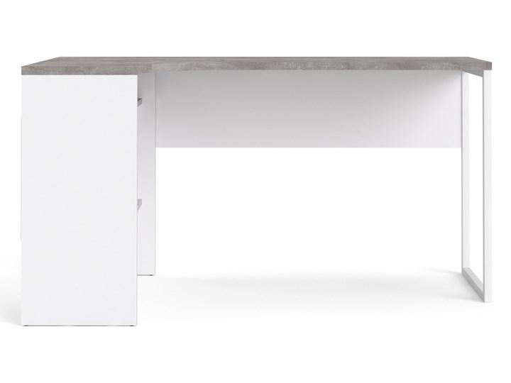 Biurko narożne Function 118 biały/beton Głębokość 81 cm Szerokość 145 cm Biurko z nadstawką Styl Nowoczesny