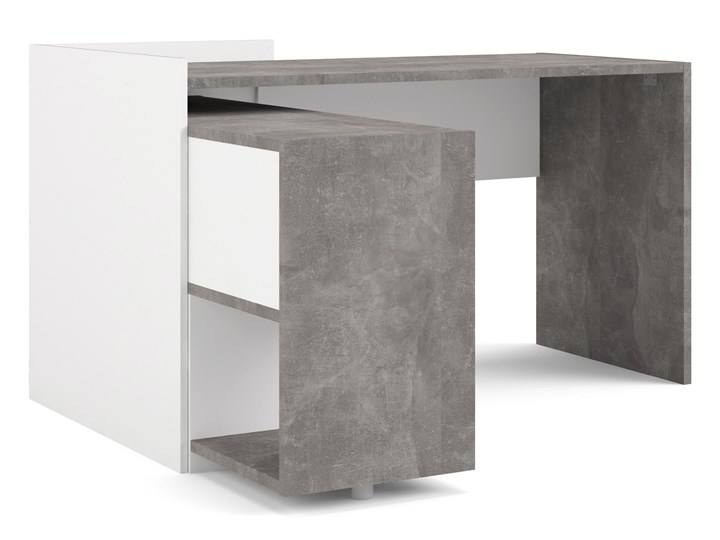 Biurko z regałem Function Extra 4 biały/beton Biurko narożne Biurko z nadstawką Kategoria Biurka Szerokość 140 cm Głębokość 120 cm Styl Nowoczesny