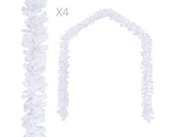 VidaXL Girlandy świąteczne, 4 szt., białe, 270 cm, PVC