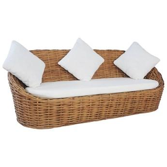 VidaXL 3-osobowa sofa z poduszkami, naturalny rattan