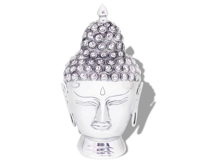 VidaXL Głowa Buddy dekoracyjna na ścianę, aluminium, srebrna Metal Kolor Szary