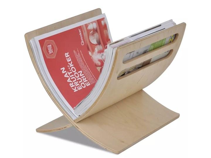 VidaXL Drewniany stojak na gazety w naturalnym kolorze Kolor Beżowy